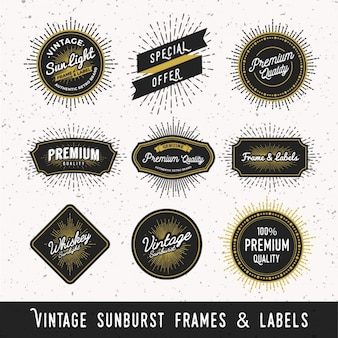 Vintage sunburst frames and labels