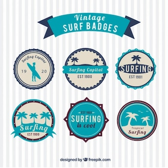 Vintage surf badges