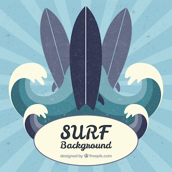 Vintage surfboards and waves on a sunburst background