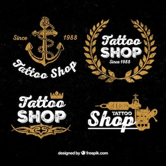 Vintage tattoo shop logos