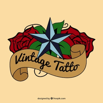 Vintage tattoo with a star over roses