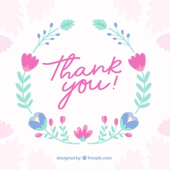 Vintage thank you background with floral wreath