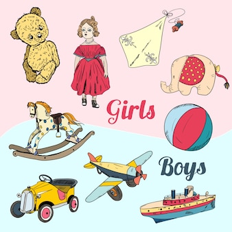 Vintage toys for girls and boys