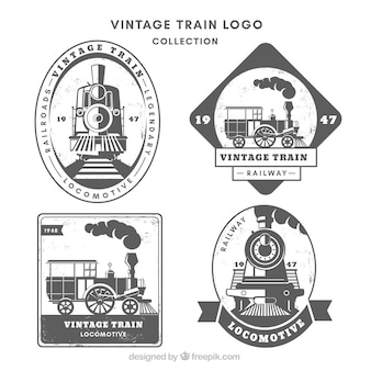Vintage train logo collection