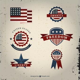 VIntage USA badges set