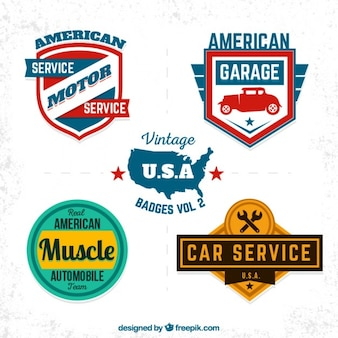 Vintage usa garage badges