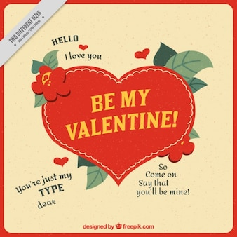 Vintage valentine background with decorative vegetation