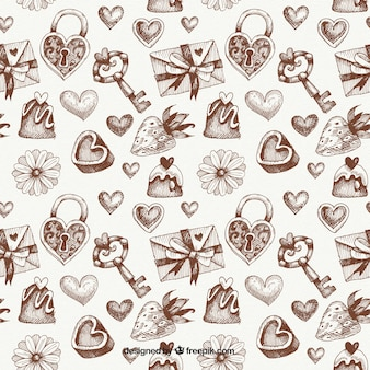 Vintage valentine sketches pattern