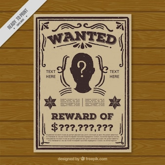 Vintage wanted criminal poster template