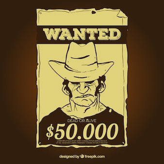 Vintage wanted poster template with reward