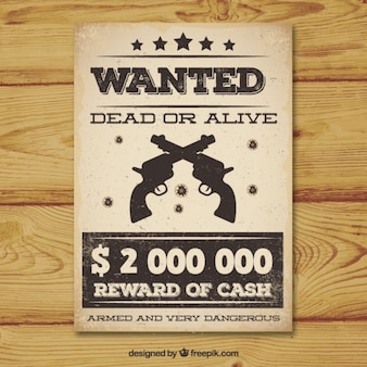 Vintage wanted poster with two guns