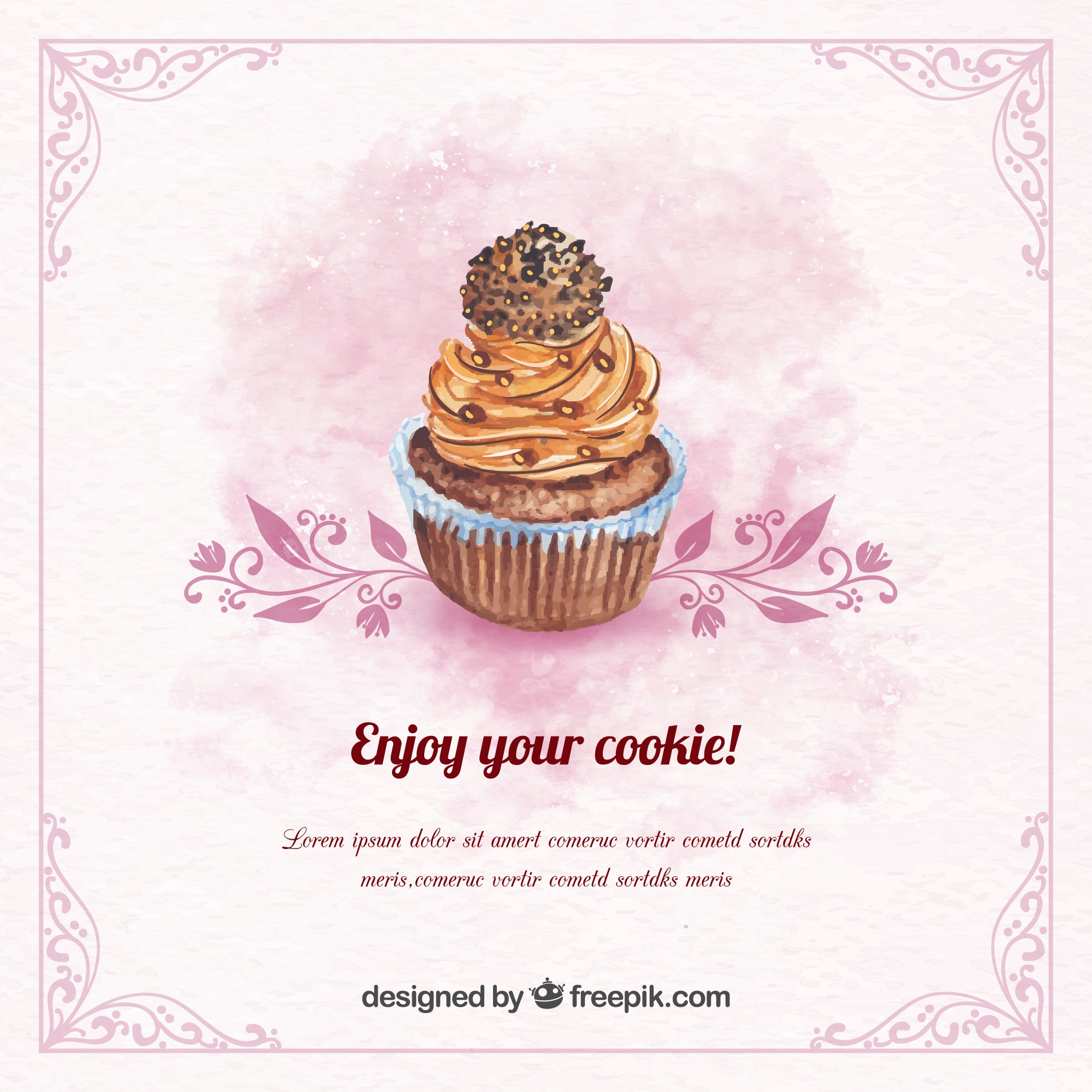 Vintage watercolor background with chocolate cupcake