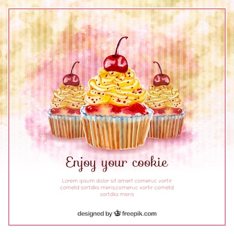 Vintage watercolor background with delicious cupcakes