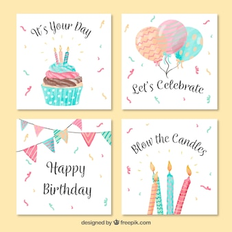 Vintage watercolor birthday greeting card pack
