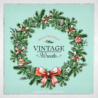 Vintage watercolor christmas wreath background