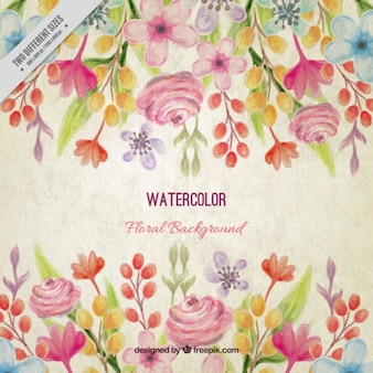 Vintage watercolor floral background with leaves