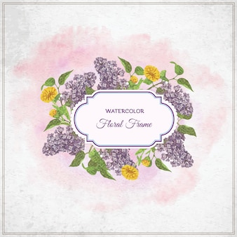 Vintage watercolor floral frame with typography