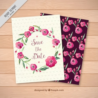 Vintage watercolor flowers card
