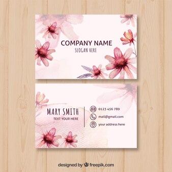 Vintage watercolor flowers card