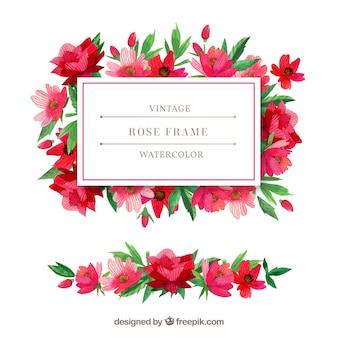Vintage watercolor flowers frame
