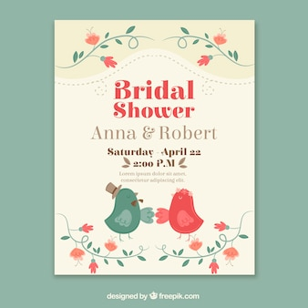 Vintage wedding card with birds