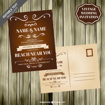 Vintage wedding card wooden template