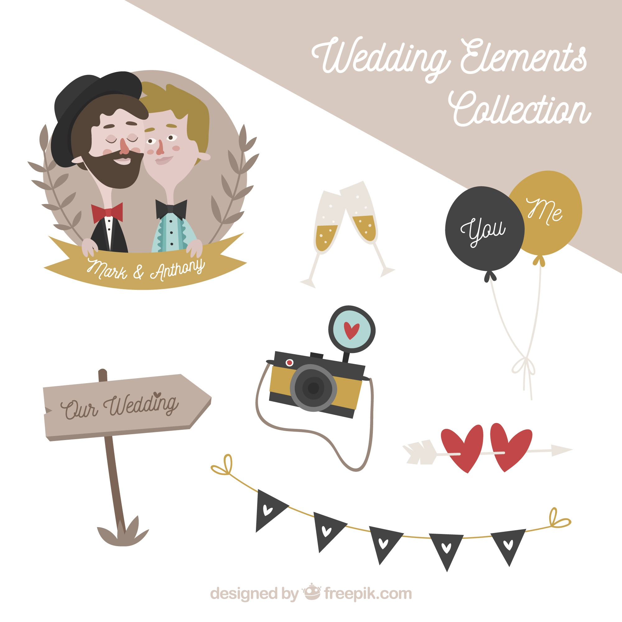 Vintage wedding elements with cute couple