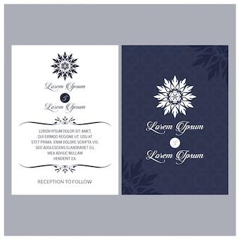 ヴィンテージ結婚式招待Mehndi曼荼羅のデザインセットには、招待状