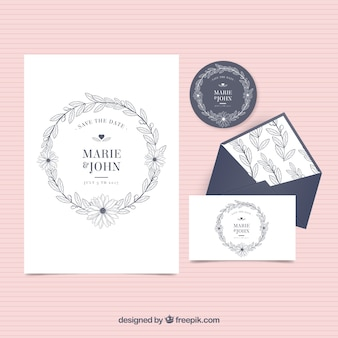 Vintage wedding invitation with envelope and label