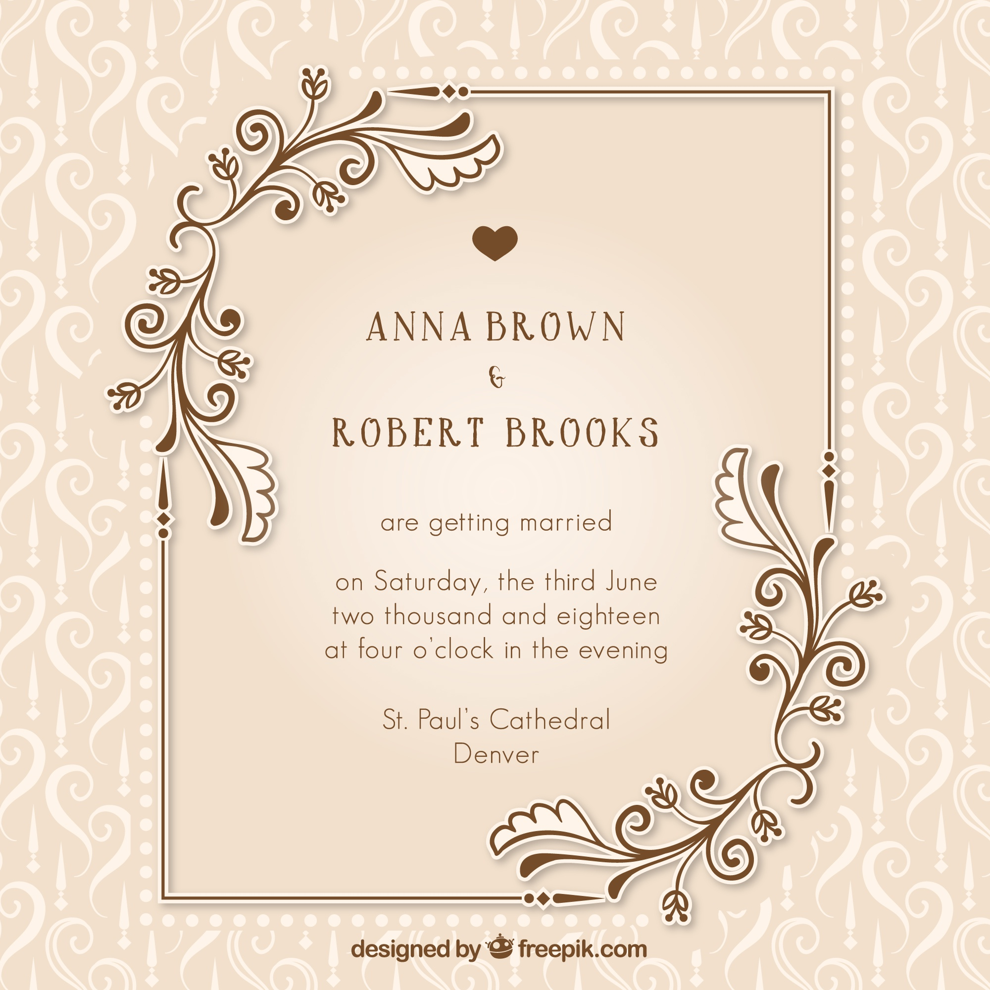 Vintage wedding invitation with floral details