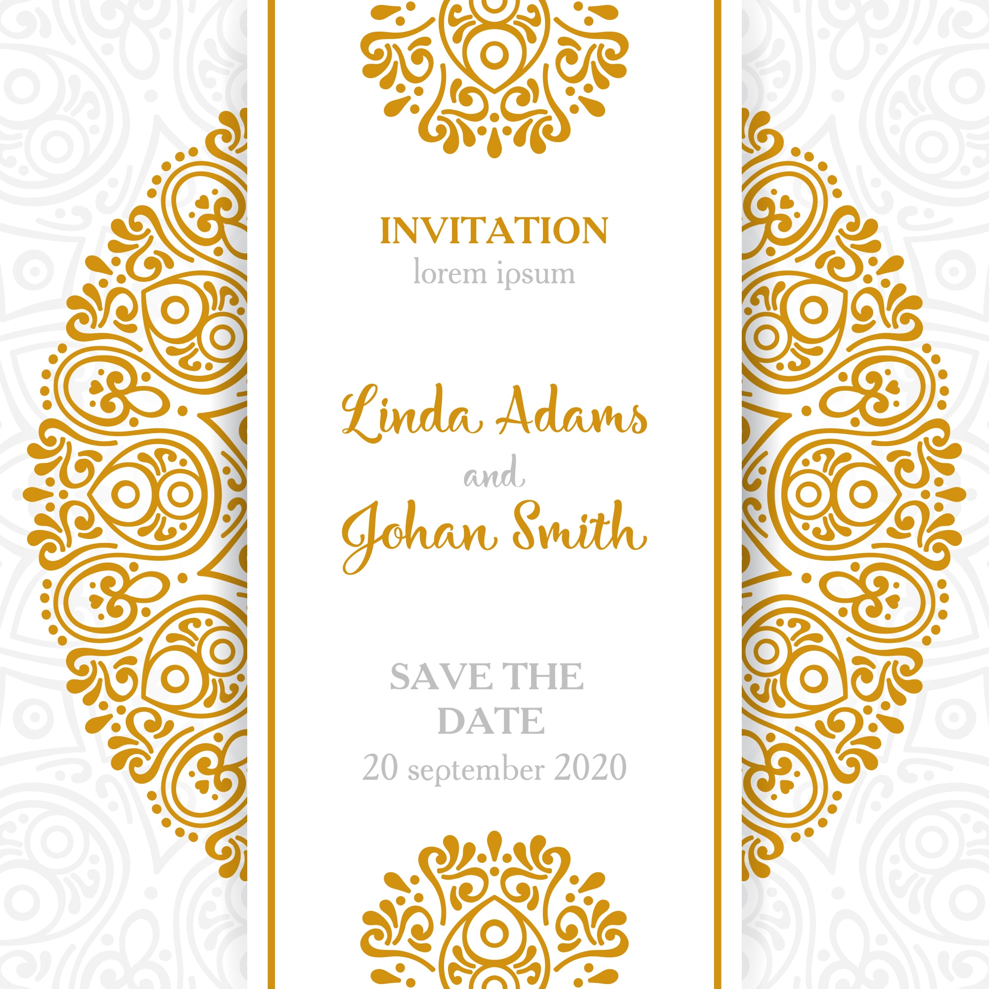 Vintage wedding invitation with mandala