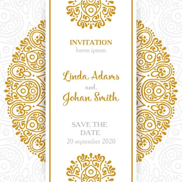 Attractive Vintage Wedding Invitation With Mandala