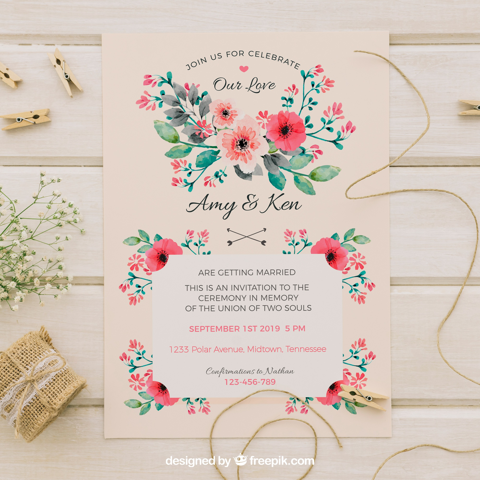 Vintage wedding invitation with watercolor flowers