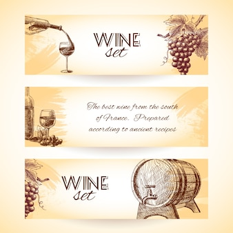 Vintage wine banners