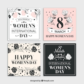 Vintage woman day cards with floral sketches