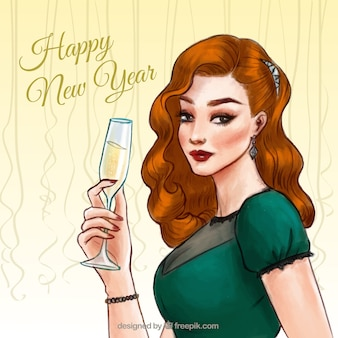 Vintage woman new year background