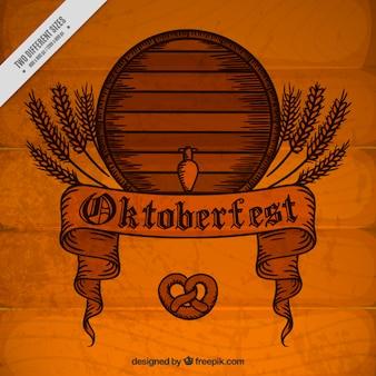 Vintage wooden background with barrel oktoberfest festival