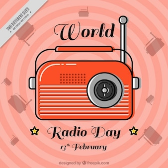 Vintage world radio day abstract background