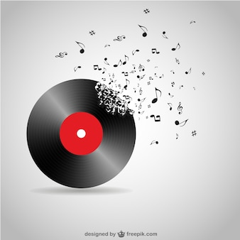 Vinyl record breaking into music notes