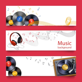 Vinyl records headphones and player horizontal banners vector illustration