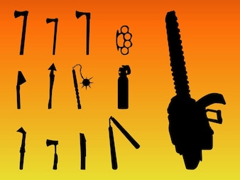 Violence axe weapons vector silhouettes