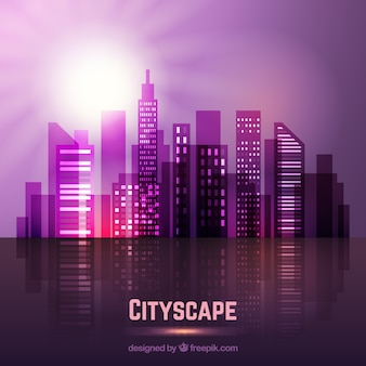 Violet modern city with a bright sun background