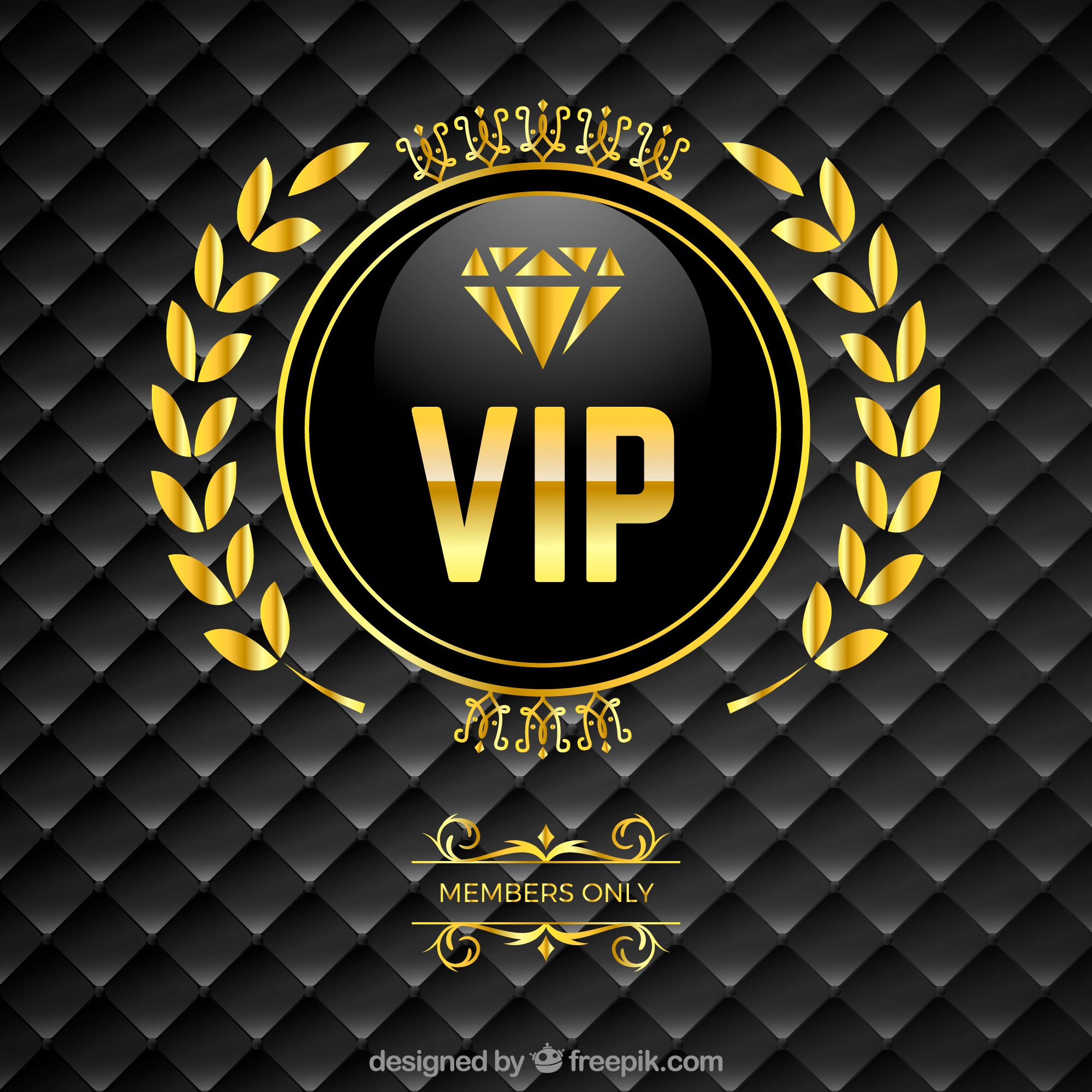 Vip padded background with golden logo