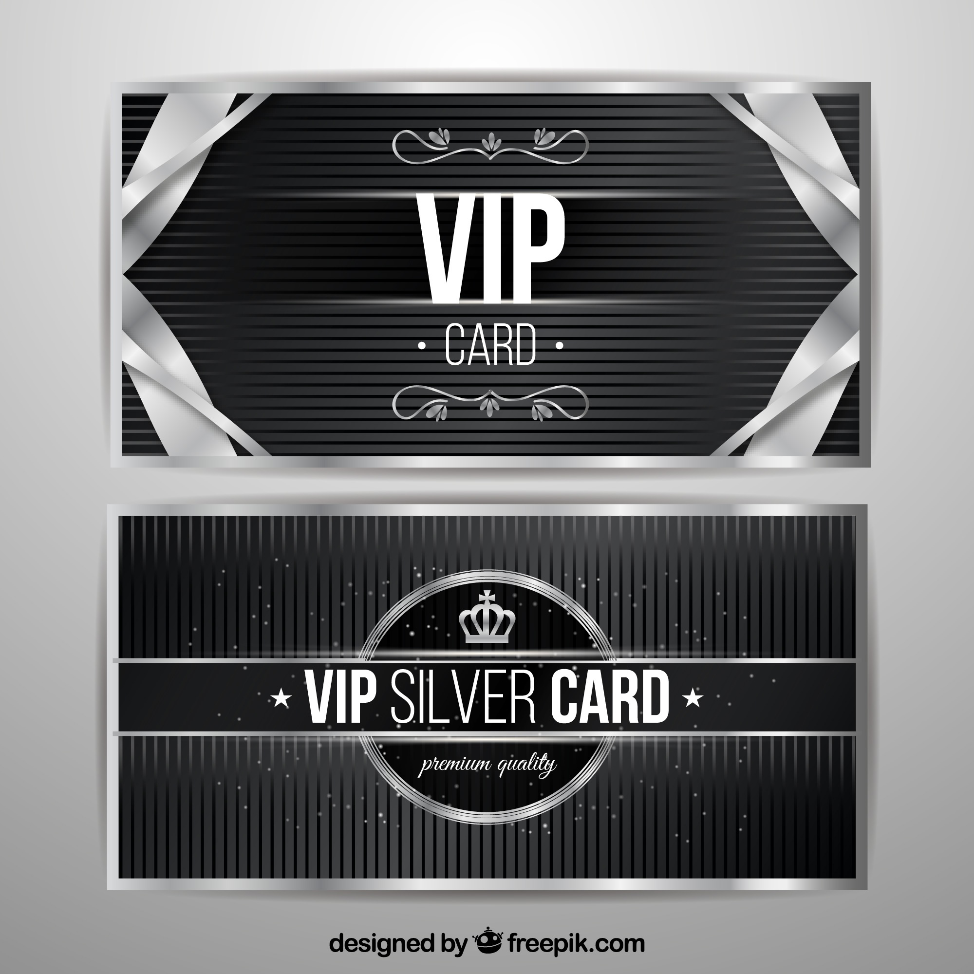 Vip silver cards with vintage elements
