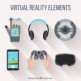 Virtual reality accessories in flat design