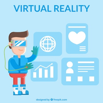 Virtual reality background with boy using virtual glasses