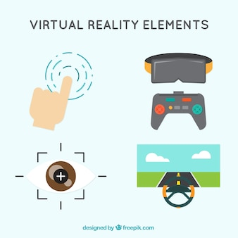 Virtual reality elements in flat design