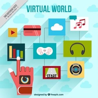 Virtual world background with hand and colorful icons