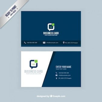 Visit card in navy blue color
