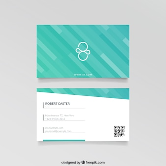 Visit card with turquoise stripes